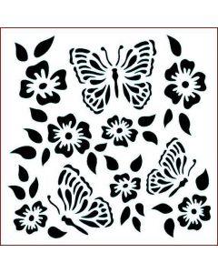 Imagination Crafts Stencil 6x6 - Folk Butterfly Flower