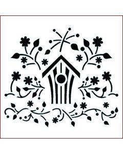 Imagination Crafts Stencil 6x6 - Folk Bird House