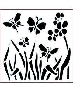 Imagination Crafts Stencil 6x6 - Folk Butterfly Meadow
