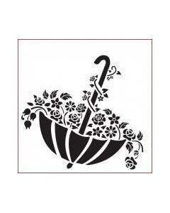 Imagination Crafts Stencil 6x6 - Floral Umbrella