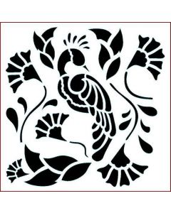 Imagination Crafts Stencil 6x6 - Peacock Paradise