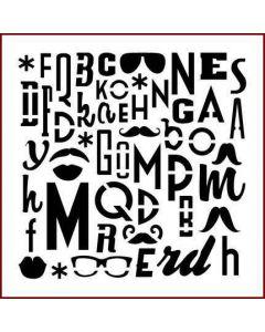 Imagination Crafts Stencil 6x6 - Steampunk Alphabet