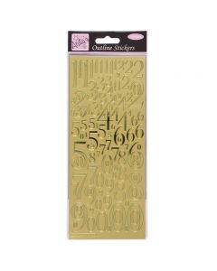 DoCrafts Outline Stickers Mixed Numbers - Gold