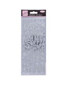 DoCrafts Outline Stickers Mixed Numbers - Silver