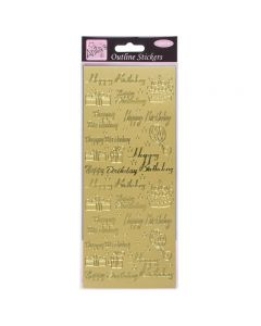 DoCrafts Outline Stickers Happy Birthday Assorted - Gold