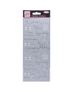 DoCrafts Outline Stickers Happy Birthday Assorted - Silver