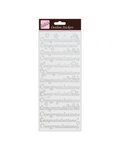 DoCrafts Outline Stickers Congratulations - Silver on White