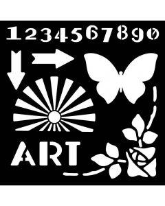 "Woodware 6"" x 6"" Stencil - Art Deco Elements"