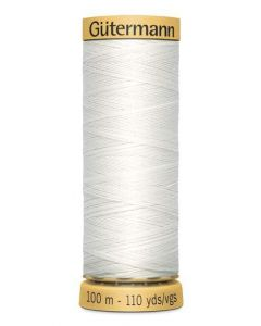 Gutermann 2T100CWHT Natural Cotton Thread- 100m