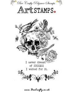 Bee Crafty Art Stamps - Skull with flowers and Birds
