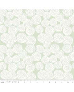 Riley Blake Bliss Fabric - Roses Mint
