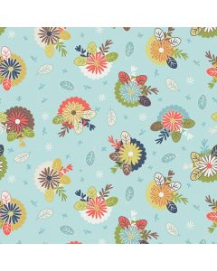 Sara Signature Sew Retro Fabric - Blue Posies