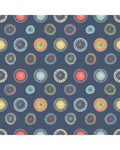 Sara Signature Sew Retro Fabric - Navy Wheels