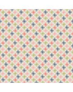 Sara Signature Sew Retro Fabric - Cream Star Flowers