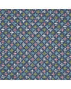 Sara Signature Sew Retro Fabric - Navy Star Flowers