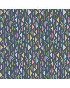 Sara Signature Sew Retro Fabric - Navy Triangles