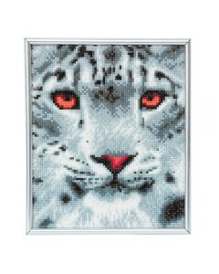 Crystal Art Silver Frame - Snow Leopard