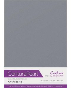 Crafter's Companion Centura Pearl Single Colour A4 10 Sheet Pack - Anthracite