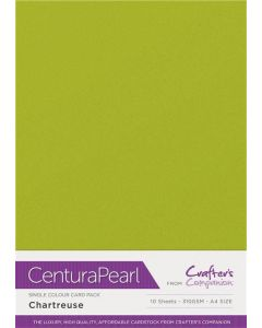 Crafter's Companion Centura Pearl Single Colour A4 10 Sheet Pack - Chartreuse