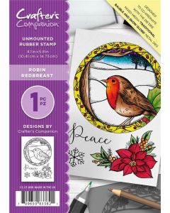 Crafter's Companion A6 Rubber Stamp - Robin Red Breast