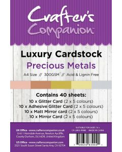 Crafter's Companion A4 Luxury Cardstock Pack - Precious Metals