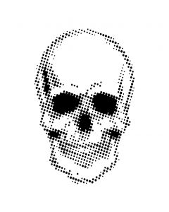 Creative Expressions 7 x 7 Stencil by Andy Skinner - Half Tone Skull