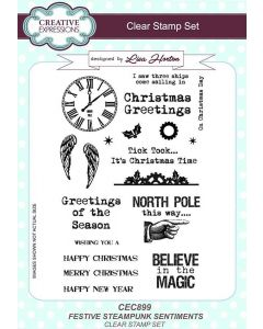 Creative Expressions Festive Steampunk Sentiments A5 Clear Stamp Set