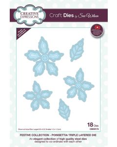 Creative Expressions Festive Collection Triple Layering Die - Poinsettia Triple Layered die