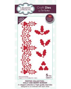 Creative Expressions Festive Collection Craft Die - Holly and Berry Border