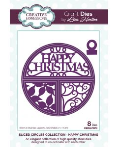 Creative Expressions Sliced Circles Collection Die Set - Happy Christmas