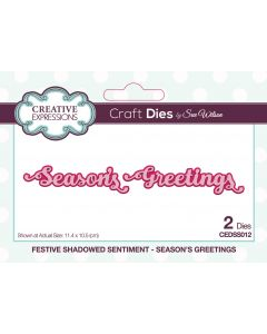 Creative Expressions Festive Shadowed Sentiment Craft Die - Season's Greetings