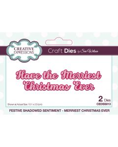 Creative Expressions Festive Shadowed Sentiment Craft Die - Merriest Christmas Ever