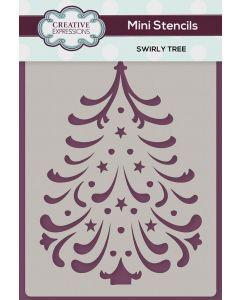 Creative Expressions Mini Stencil - Swirly Tree