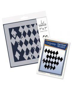 Claritystamp Stamp & Stencil Set - Harlequin