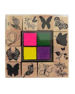 Craft Sensations Wooden Stamp Set and Ink Pads - Butterflies with pink, green, yellow, purple ink pads