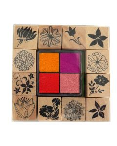 Craft Sensations Wooden Stamp Set and Ink Pads - Flowers with pink, red, purple orange ink pads