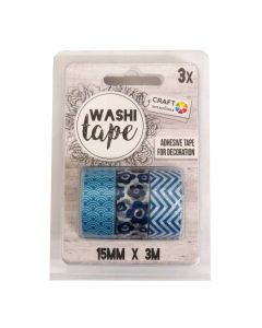 Craft Sensations Adhesive 15mm x 3m Washi Tape 3 Pack - Blue Designs