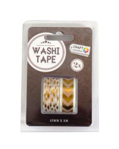 Craft Sensations Adhesive 15mm x 3m Washi Tape 2 Pack - Gold Arrow and Leaf