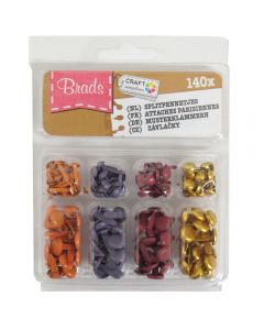 Craft Sensations Decorative Mini Brads – Metallic Gold, Brown, Grey, Orange