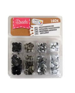 Craft Sensations Decorative Mini Brads – White, Silver, Grey, Black