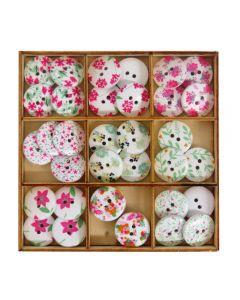 Craft Sensations Wooden Deco Buttons 36 pack - Pastel Florals