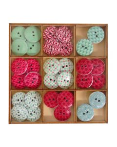 Craft Sensations Wooden Deco Buttons 36 pack - Red and Green