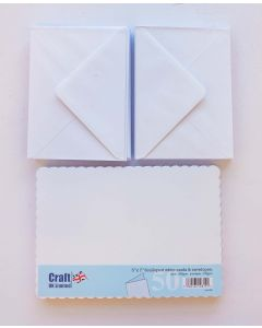 Craft UK 5x7 White Scalloped Card and Envelopes - pack of 50