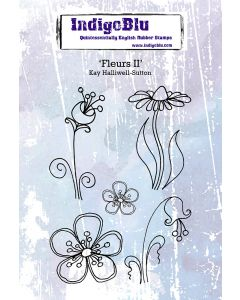 IndigoBlu A6 Red Rubber Stamp by Kay Halliwell-Sutton - Fleurs II