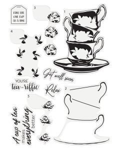Crafter's Companion Photopolymer Layering Stamp - Floral Tea Cups