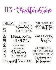 Crafter's Companion Sentiment & Verses Clear Stamps - It's Christmastime