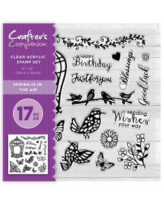 Crafter's Companion 6 x 6 Acrylic Stamp Set - Spring is in the Air
