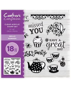 Crafter's Companion 6 x 6 Acrylic Stamp Set - Hello Summer