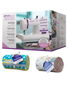 Gemini Stitch Sewing Machine with Country Yard Fabric and Tokyo Blue Fabric Strip Rolls
