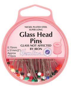 Hemline Glass Head Nickel Pins - 34mm, 95pcs